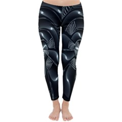 Fractal Disk Texture Black White Spiral Circle Abstract Tech Technologic Classic Winter Leggings