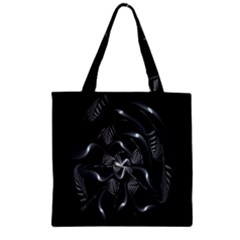 Fractal Disk Texture Black White Spiral Circle Abstract Tech Technologic Zipper Grocery Tote Bag