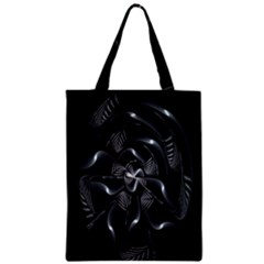 Fractal Disk Texture Black White Spiral Circle Abstract Tech Technologic Zipper Classic Tote Bag