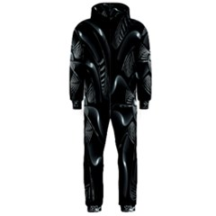 Fractal Disk Texture Black White Spiral Circle Abstract Tech Technologic Hooded Jumpsuit (Men)