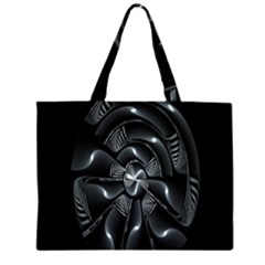 Fractal Disk Texture Black White Spiral Circle Abstract Tech Technologic Large Tote Bag