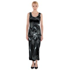 Fractal Disk Texture Black White Spiral Circle Abstract Tech Technologic Fitted Maxi Dress