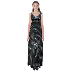 Fractal Disk Texture Black White Spiral Circle Abstract Tech Technologic Empire Waist Maxi Dress