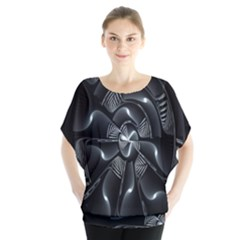 Fractal Disk Texture Black White Spiral Circle Abstract Tech Technologic Blouse