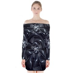 Fractal Disk Texture Black White Spiral Circle Abstract Tech Technologic Long Sleeve Off Shoulder Dress