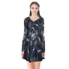 Fractal Disk Texture Black White Spiral Circle Abstract Tech Technologic Flare Dress