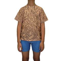 Mechanical Tech Pattern Kids  Short Sleeve Swimwear