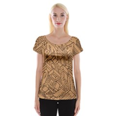 Mechanical Tech Pattern Women s Cap Sleeve Top