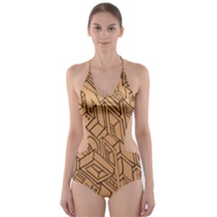 Mechanical Tech Pattern Cut-Out One Piece Swimsuit