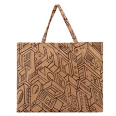 Mechanical Tech Pattern Zipper Large Tote Bag