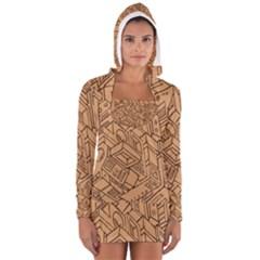 Mechanical Tech Pattern Women s Long Sleeve Hooded T-shirt