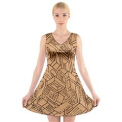 Mechanical Tech Pattern V Neck Sleeveless Skater Dress