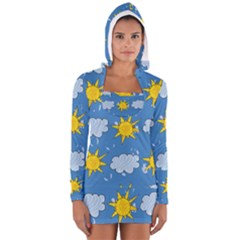 Sunshine Tech Blue Women s Long Sleeve Hooded T-shirt