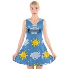 Sunshine Tech Blue V-Neck Sleeveless Skater Dress