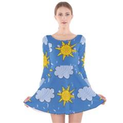 Sunshine Tech Blue Long Sleeve Velvet Skater Dress