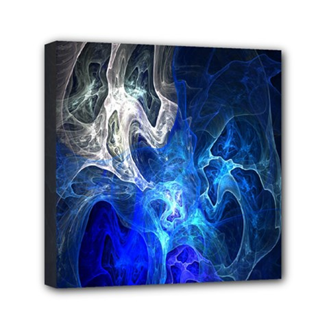 Ghost Fractal Texture Skull Ghostly White Blue Light Abstract Mini Canvas 6  X 6