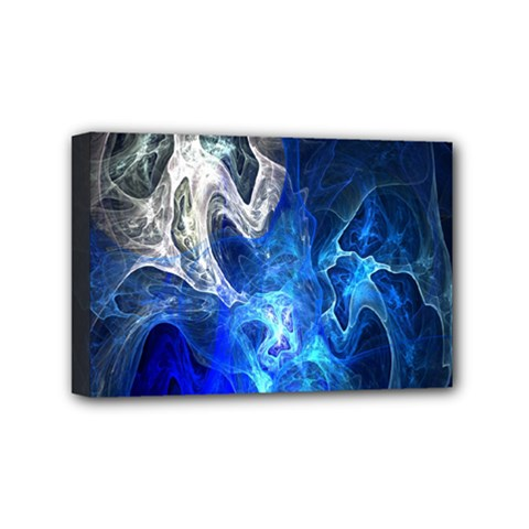 Ghost Fractal Texture Skull Ghostly White Blue Light Abstract Mini Canvas 6  X 4