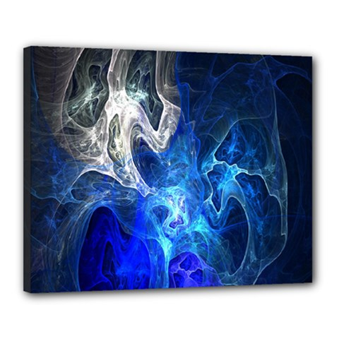 Ghost Fractal Texture Skull Ghostly White Blue Light Abstract Canvas 20  X 16