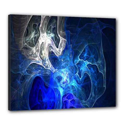 Ghost Fractal Texture Skull Ghostly White Blue Light Abstract Canvas 24  x 20