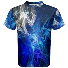 Ghost Fractal Texture Skull Ghostly White Blue Light Abstract Men s Cotton Tee