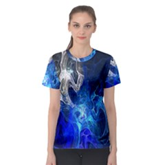 Ghost Fractal Texture Skull Ghostly White Blue Light Abstract Women s Sport Mesh Tee