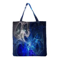 Ghost Fractal Texture Skull Ghostly White Blue Light Abstract Grocery Tote Bag