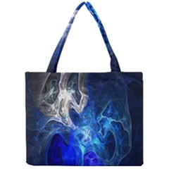 Ghost Fractal Texture Skull Ghostly White Blue Light Abstract Mini Tote Bag