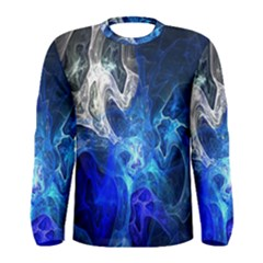 Ghost Fractal Texture Skull Ghostly White Blue Light Abstract Men s Long Sleeve Tee