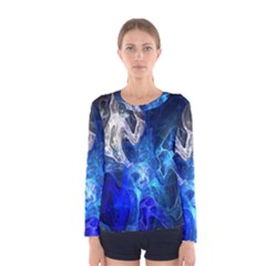 Ghost Fractal Texture Skull Ghostly White Blue Light Abstract Women s Long Sleeve Tee