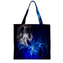 Ghost Fractal Texture Skull Ghostly White Blue Light Abstract Zipper Grocery Tote Bag