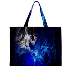 Ghost Fractal Texture Skull Ghostly White Blue Light Abstract Zipper Mini Tote Bag
