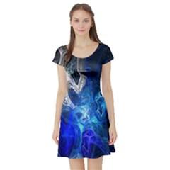 Ghost Fractal Texture Skull Ghostly White Blue Light Abstract Short Sleeve Skater Dress