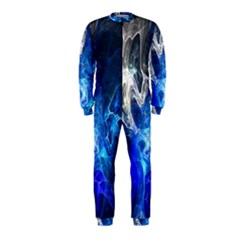 Ghost Fractal Texture Skull Ghostly White Blue Light Abstract OnePiece Jumpsuit (Kids)