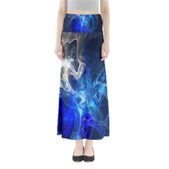 Ghost Fractal Texture Skull Ghostly White Blue Light Abstract Maxi Skirts