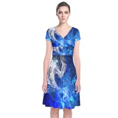 Ghost Fractal Texture Skull Ghostly White Blue Light Abstract Short Sleeve Front Wrap Dress