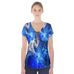Ghost Fractal Texture Skull Ghostly White Blue Light Abstract Short Sleeve Front Detail Top