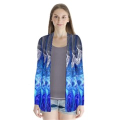 Ghost Fractal Texture Skull Ghostly White Blue Light Abstract Cardigans