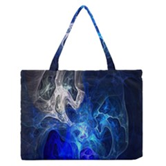 Ghost Fractal Texture Skull Ghostly White Blue Light Abstract Medium Zipper Tote Bag