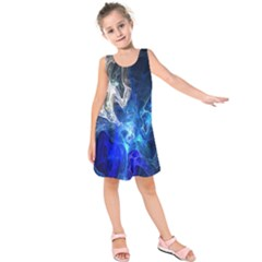 Ghost Fractal Texture Skull Ghostly White Blue Light Abstract Kids  Sleeveless Dress