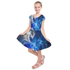 Ghost Fractal Texture Skull Ghostly White Blue Light Abstract Kids  Short Sleeve Dress