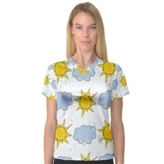 Sunshine Tech White Women s V Neck Sport Mesh Tee