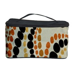 Polka Dot Texture Fabric 70s Orange Swirl Cloth Pattern Cosmetic Storage Case