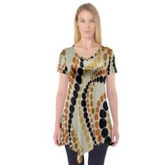 Polka Dot Texture Fabric 70s Orange Swirl Cloth Pattern Short Sleeve Tunic