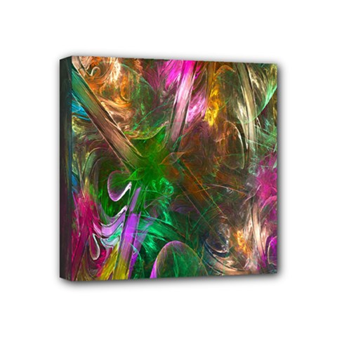 Fractal Texture Abstract Messy Light Color Swirl Bright Mini Canvas 4  X 4