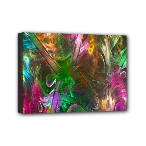 Fractal Texture Abstract Messy Light Color Swirl Bright Mini Canvas 7  X 5