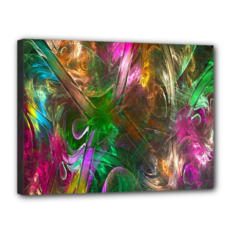Fractal Texture Abstract Messy Light Color Swirl Bright Canvas 16  x 12