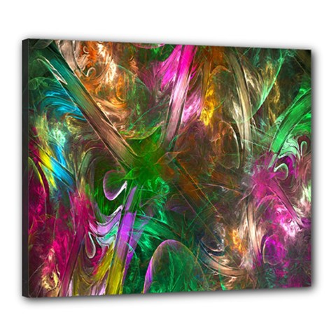 Fractal Texture Abstract Messy Light Color Swirl Bright Canvas 24  x 20