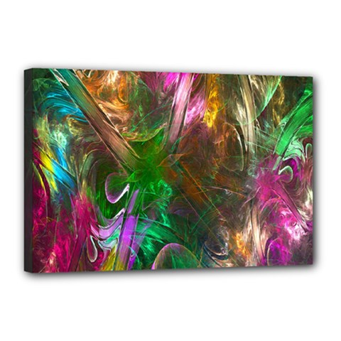 Fractal Texture Abstract Messy Light Color Swirl Bright Canvas 18  x 12
