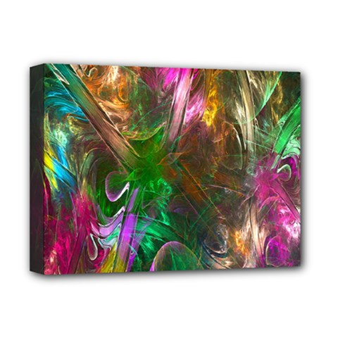 Fractal Texture Abstract Messy Light Color Swirl Bright Deluxe Canvas 16  x 12