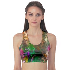 Fractal Texture Abstract Messy Light Color Swirl Bright Sports Bra